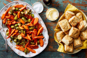 Marley-spoon-thanksgiving-Parmesan-Thyme Biscuits & Hot Honey-Glazed Roasted Vegetables 1